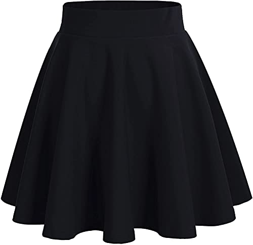 DRESSTELLS Jupe Mini Courte évasée en Polyester, Noir M