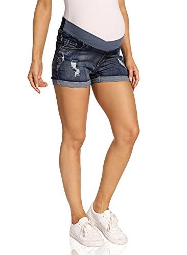 Kegiani Short de grossesse pour femme - Short en jean - Pantalon de grossesse avec bande ventrale pour l'été, Bleu foncé (04), S