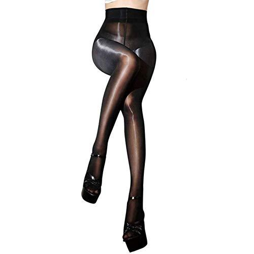 HTRUIYATY Collant Brillant Huileux 8 Deniers Sexy Sans Couture Collant Infilable Femme-Noir prix et achat