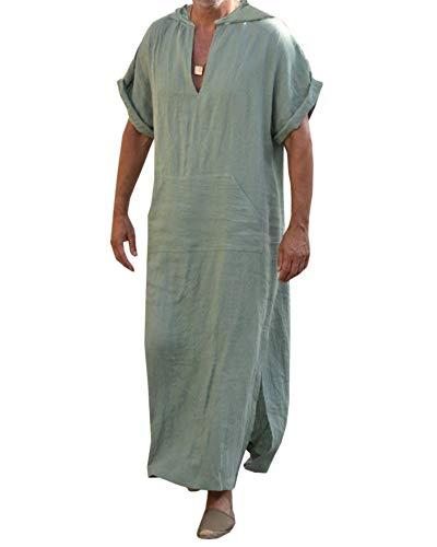 Caftan en lin pour homme - Style ethnique - Style décontracté - Pour l'été - Printemps - Avec poche - Vêtement lounge - Avec capuche - - XL