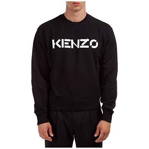 Sweat Kenzo Homme Noir Logo Blanc 100% Coton (Coupe Regular - Taille Petit) (M)