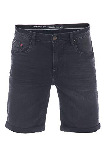 riverso RIVUdo Short en jean pour homme Coupe droite 99 % coton Bermuda Gris Bleu clair Bleu Noir W30 w31 w32 w33 w34 w36 w38 w40 w42 - Noir - 32W