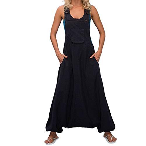 Combinaison Femme Pantalon 2019 Honestyi sans Manches Salopette Grande Taille Jumpsuit Casual Loose Pantalon Sarouel Baggy Longue Romper Poche Style Simple Noir Blanc Plus Size S - 5XL