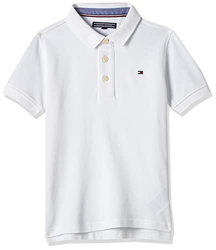 Tommy Hilfiger Tommy Polo S/s, Blanc (Bright White 123), 164 (Taille Fabricant: 14) Garçon