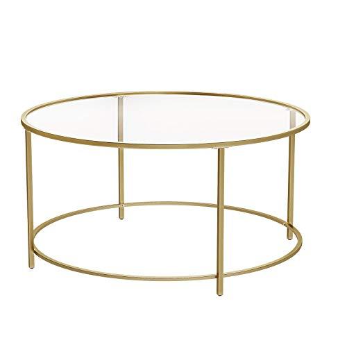 VASAGLE Table Basse Ronde, Dessus de Table en Verre trempé, Cadre en Acier, Table de Salon, Bout de canapé, décoratif, Doré LGT21G