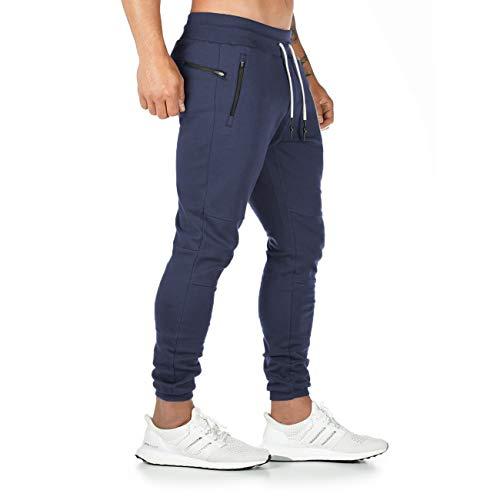 Yageshark Pantalon de Jogging Homme Coton Mode Training Pantalon de Survêtement Taille Élastique Casual Activewear Pantalons (Marine,Medium) prix et achat