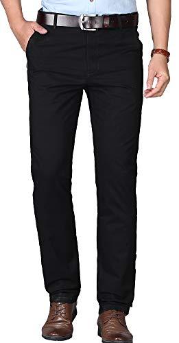 Kuson Homme Pantalon Anti-Rides Taille Haute Coton Tube Droite Décontracté Noir 42-44
