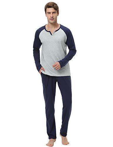 Aibrou Pyjama Homme 100% Coton Ensemble Pyjamas Chauds Homme Manche Longue Col V Ensemble de...