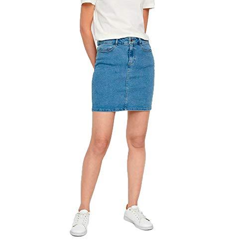 Vero Moda Vmhot Seven Mr Short Skirt DNM Mix Noos Jupe,Hell BLEU , L Femme