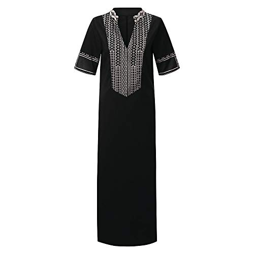Manches Longues Imprimées Robe Maxi Femme Col V Hem Baggy Kaftan Robe Longue