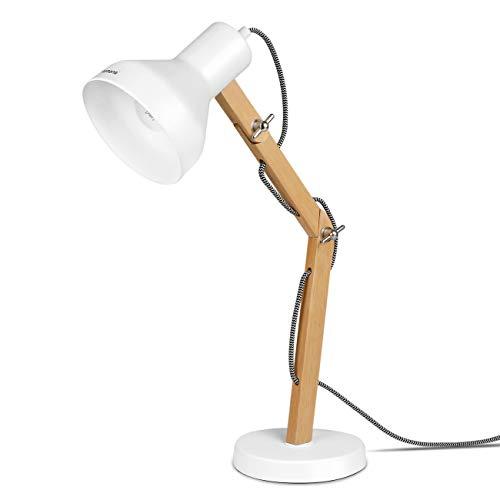 Tomons Lampe de Bureau en Bois, Lampe de Table, Ampoule LED Inclus, Lampes de Lecture, Décoration Design pour Bureau et Table de Chevet, Chambre, Salon, Blanc