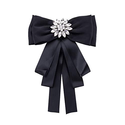 TENDYCOCO Femmes Noeud Papillon avec Broche Vintage Cristal Cou Cravate Broche Broche Strass...