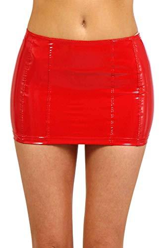 Miss Noir Mini-jupe sexy en vinyle PVC avec fermeture éclair pour femme - Rouge - 44