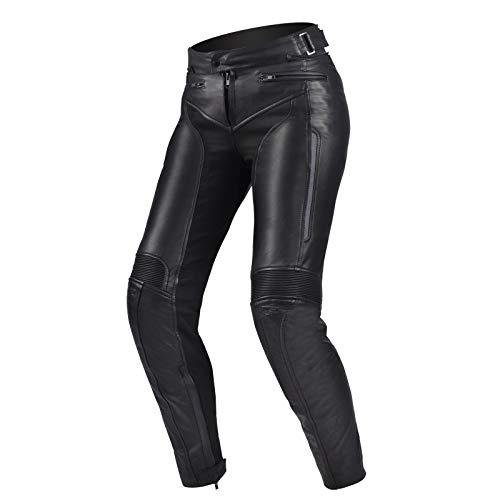 SHIMA MONACO Pantalon Moto Femme - Pantalons Respirant, Élastique, Coupe Slim et Cuir avec Protection CE Genoux (Noir, XS)