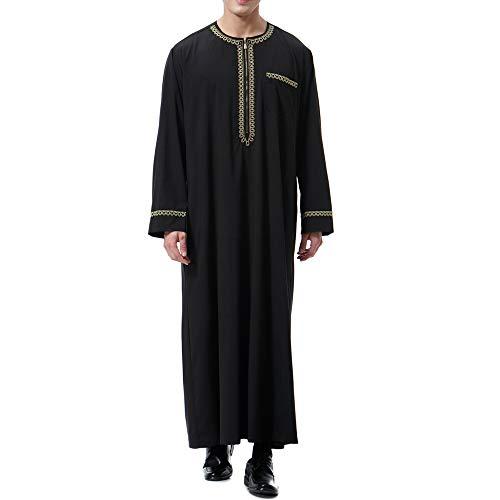 Heflashor Homme Thobe Manches Longue Robe Caftan Imprimé Arabe Musulman Chemise Longues...