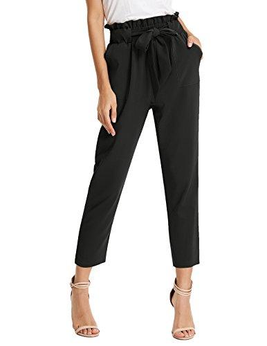 GRACE KARIN Pantalon Femme Casual élastique Ceinture Classique Longue Taille Haute Bow-Knot Noir L CLAF1011-1 …
