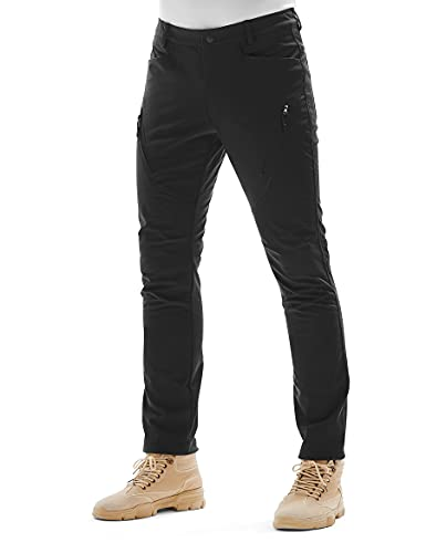 KUTOOK Homme Pantalon Ski Hydrofuge Pantalon Randonnée Softshell Thermique Coupe-Vent Hiver Pantalon de Montagne Escalade Outdoor Pantalon Trekking Camping Pantalon Doublé Polaire Noir L