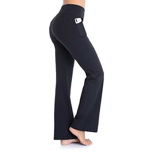 Ollrynns Pantalon de Yoga Femme Long Casual Pantalon Bootleg de contrôle du Ventre Jambe Large Bootcut Leggings avec Poches pour Gym Fitness Yoga N151,Noir,M prix et achat