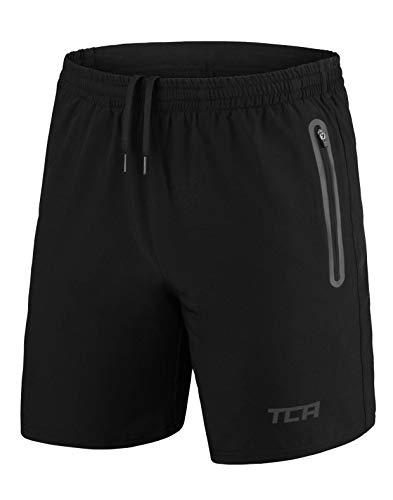 TCA Homme Elite Tech Short de Course Léger avec Poches zippées - Noir/Noir, M