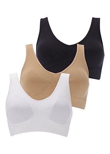 Boolavard Soutien-Gorge de Sport Femme Confort Soutien Gorge Ahh Bra Blanc, Noir, Beige, Rose, etc. (XXL: 116-121cm (52-54), Noir, Blanc et Beige)