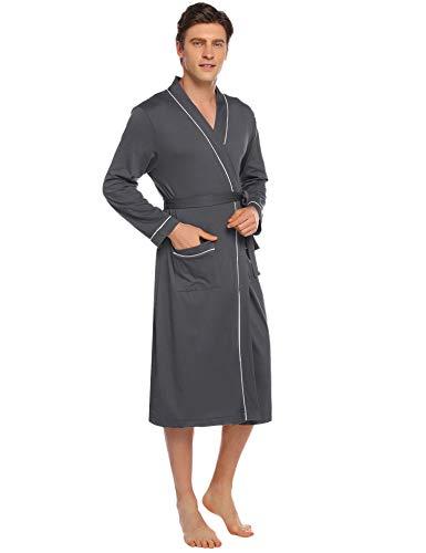 Aibrou Peignoir Femme Hommes Robe de Chambre Coton Kimono avec Poches Ceinture Soild Hiver...