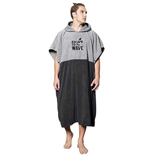 Vulken Peignoir de bain/poncho à capuche Extra Large Pour femme et homme En Microfibre Pour Plage Piscine Lac Parc aquatique, Gris noir - L/XL., L-XL