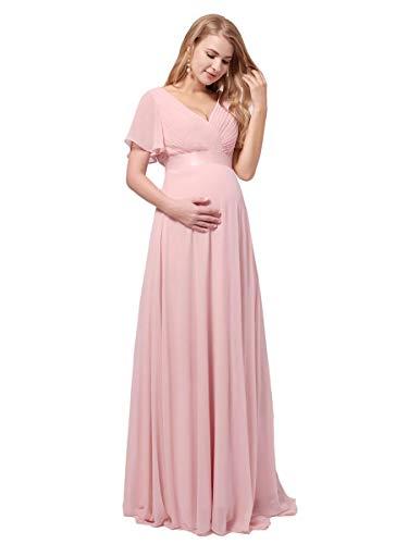 Ever-Pretty Robe de Bal de Soirée Longue Femme Mousseline Classique Grossesse Enceinte Double V-col Manches Courtes Rose Clair 38