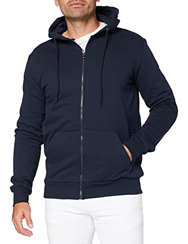 FM London Hyfresh Zipped Sweat-Shirt À Capuche, Bleu (Navy 12), Medium Homme