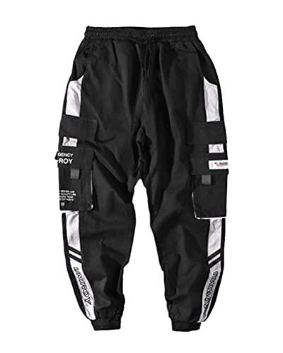 ORANDESIGNE Pantalon De Jogging Sarouel pour Homme Modèles D'explosion De Printemps Pantalon Hip Hop Noir Pantalon De Sport Noir Multi-Poches Streetwear Salopette pour Hommes A Blanc 3XL