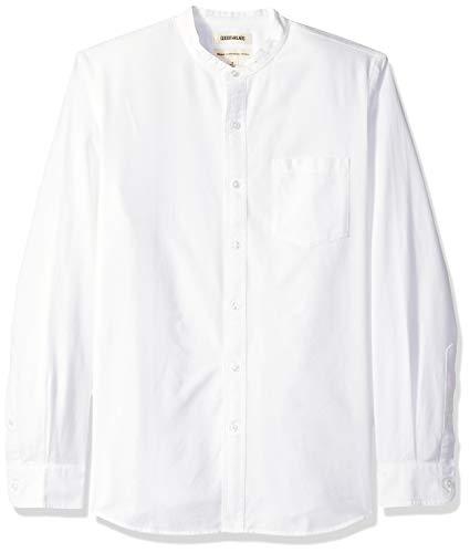 Marque Amazon – Goodthreads Chemise en tissu Oxford à manches longues, col Mao et coupe classique pour homme, Blanc (White Whi), US XXL (EU XXXL - 4XL)