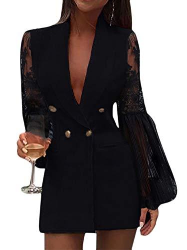 ORANDESIGNE Robe Blazer Femme Sexy Paillettes Scintillantes Col en V Tailleur Longue Cintré À Manches Longues Robe Moulante Mini Robe Club De Fête Z Noir 44