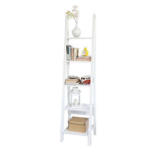 SoBuy® FRG101-W Étagère Style échelle Bibliothèque - 5 étages –Blanc