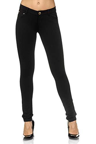 Elara Pantalons Stretch Femme Jeggings Skinny Fit Chunkyrayan Noir A2488 Black-36 (S)