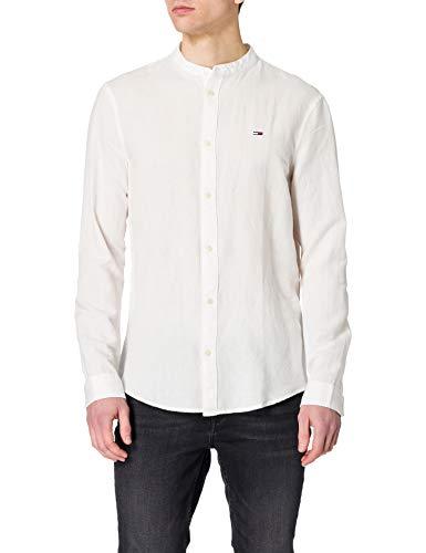 Tommy Jeans TJM Mao Linen Blend Shirt, Blanc, L Homme