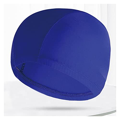 QWSX Bonnet de Bain Multi Couleurs Modèles Hommes Femmes Tissu Natation Cap Unisexe Adultes Piscine Piscine Plongée Sports Élévers Élastic Caps Casquettes Turban Confortable et Doux (Color : Blue)