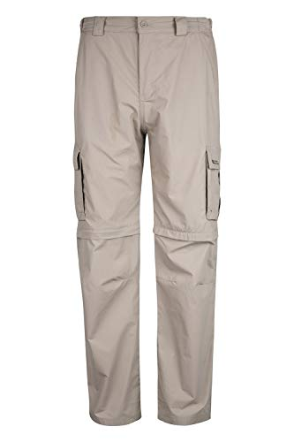 Mountain Warehouse Trek Pantalon Homme Convertible Short Résistant Sport Randonnée Voyage Léger Zip Beige foncé FR 40 (EU 30)