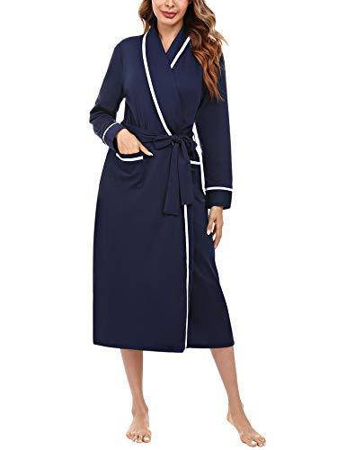 Aibrou Robe de Chambre Femme Coton Peignoir Femme Long Leger Manches Longues Col V avec...