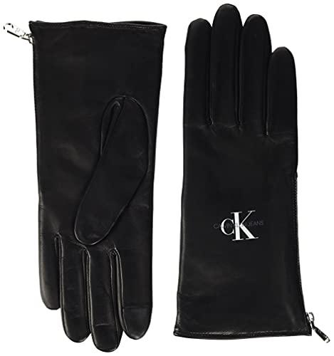 Calvin Klein Leather Gloves des Gants DE Cuir, Black, Taille Unique Femme