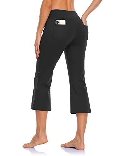 MOVE BEYOND Pantacourt de Yoga Bootcut avec 4 Poches pour Femmes Pantacourt Bootleg de contrôle du Ventre, Noir, XL