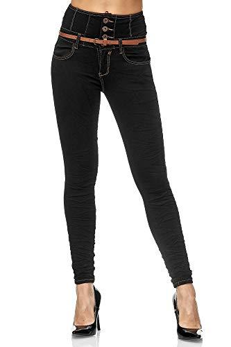 Elara Jeans Femme Taille Haute Skinny Fit Chunkyrayan 1578 Noir-38