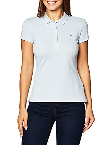Tommy Hilfiger Short Sleeve Slim Polo, Breezy Blue, M Femme
