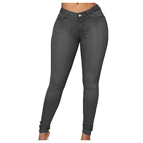 Betory Pantalon Femme Stretch Skinny Fit Jegging Taille Haute Classique Multi-Poches Foncé...