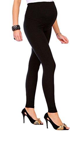 FUTURO FASHION - Legging long de grossesse - très confortable - coton - nombreuses tailles - Noir - 38