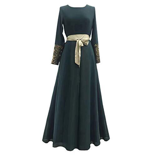 Robe Musulmane Femme Longue,Femmes Abaya Musulmane à Manches Longues Maxi Mousseline Robe...