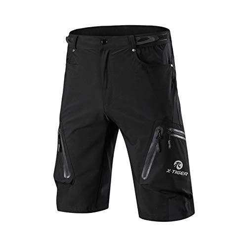 X-TIGER Shorts de Cyclisme VTT pour Homme Short de Sport Extérieur Loisirs(Noir, L)