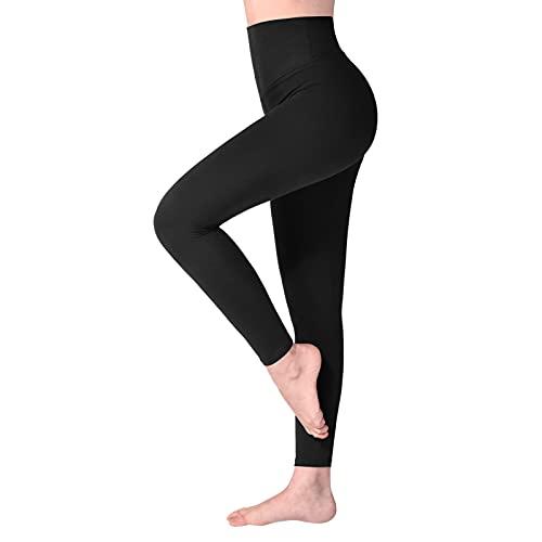SINOPHANT Legging Femmes Pantalon de Sport, Jegging Taille Haute Femme Yoga Opaque Doux Grande Taille (1 pièces Noir,S-L)