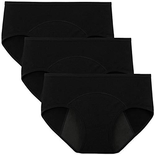INNERSY Culotte Menstruelle Absorbante Femme Shorty Rejeanne Coton Stretch Slip Noire Lot de 3 (M-EU 40, Noir-Doublure Sombre)