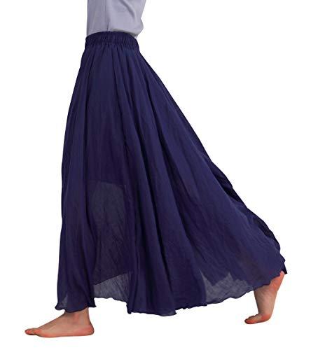 FEOYA Jupe Ete Femme Longue en Coton Lin Casual Jupe Plisse Boheme Danse Plage Mariage Vacances...