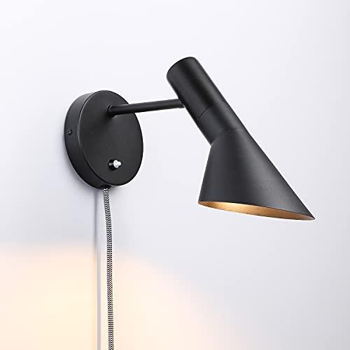 BarcelonaLED Applique murale avec câble prise et interrupteur Lampe de lecture Design élégant moderne nordique orientable Noir E27