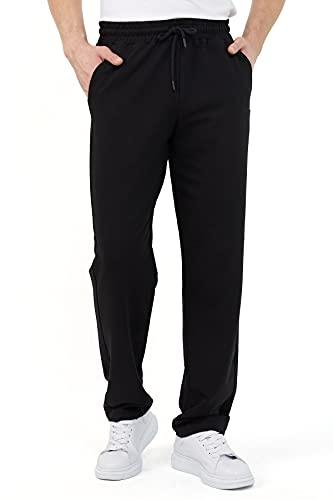COMEOR Pantalon de jogging pour homme en coton - Pantalon de sport long pour homme - Pantalon de jogging pour homme, Noir , XXL